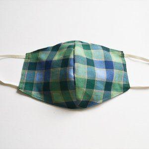 Fabric Face Mask Handmade Plaid Blue Green
